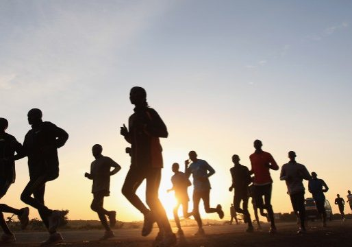 Patrick Makau of Kenya and holder of the world marathon record during a training run on February 8, 2012 in Ngong, Kenya.